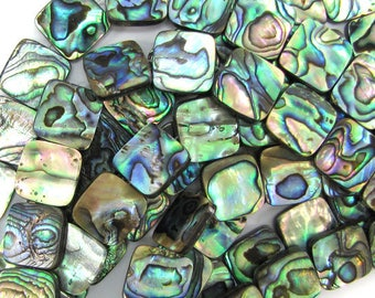 "14mm abalone shell flat square beads 16"" strand 32096"
