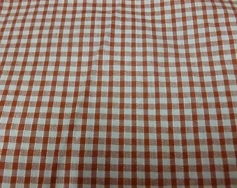 Red and white cotton gingham fabric