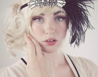 Deco Flapper Headband Antique Silver Beading with Black Or Silver Gray Ostrich Feather Headband