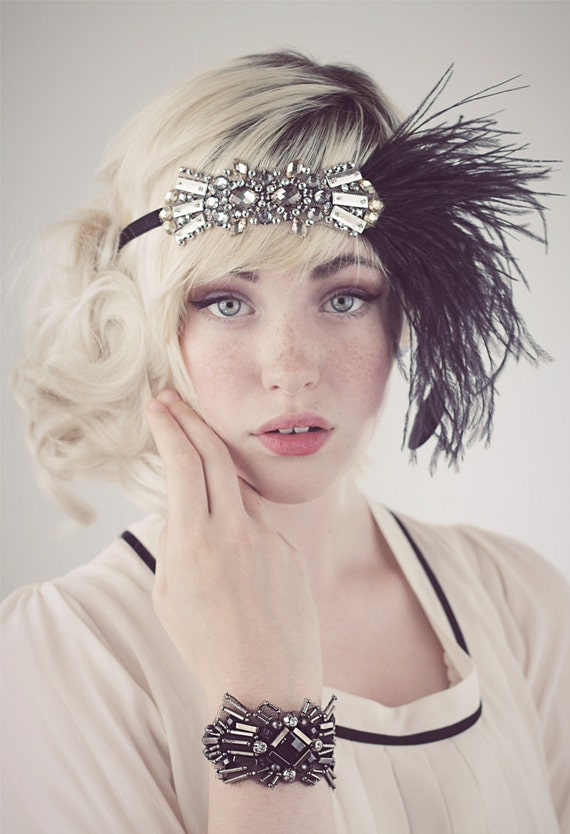 Deco Flapper Headband Antique Silver Beading With Black Or