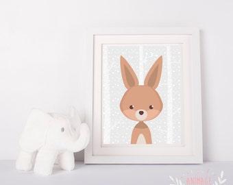 Digital poster file hare rabbit decoration design room kid nursery baby forest animals animal woodland