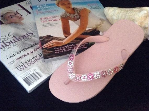 Flower Girl Flip Flops Children w/ Swarovski Crystal Jewel Sandals Blush Pink Rose White & Blue Bridal Wedding Bridesmaid Daisy Floral Shoes