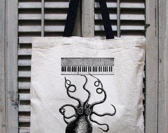tote bag canvas - nautical tote bag - beach bag - music bag - sailing gift - book bag - book tote - sea bags - OCTAVE OCTOPUS - tote bag