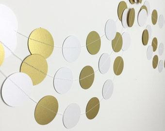 Party Decoration - Wedding Decorations - Birthday Party Garland - Anniversary - Gold Wedding Decor - White Gold Circle Garland - 10 Feet