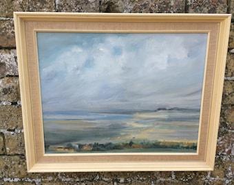 Original watercolour seascape of Brancaster Staithe by Am Davis, seascape, original watercolour painting sea painting coastal scene Norfolk