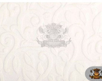 """Minky Cuddle Embossed Vine Fabric 16 White/ 58"""" Wide /Sold by the yard"""