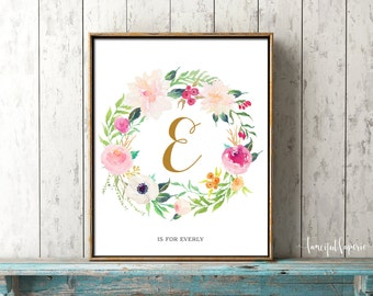 Personalized Wall Art, Flower Calligraphy Monogram, Watercolor Floral Wreath, Baby Shower Decoration, Letter Nursery Print, Printable Art