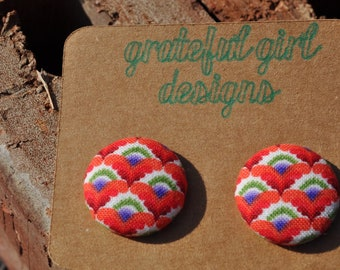 Multi Color Button Earrings
