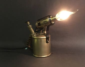 Dimmable Industrial Table Lamp, Desk Lamp or Bedside Lamp from an Upcycled Vintage Blowlamp