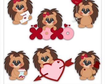 Valentine Stuck on You Porcupine 1 Clipart (Digital Download)