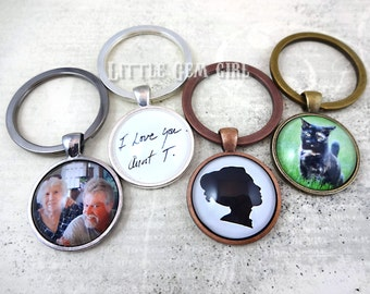 Set of Two Custom Photo Key Chains - Silver, Antique Bronze or Copper, Gunmetal 1 inch Round Photo Keychain Charm - Photo Pendant Jewelry