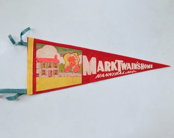 Vintage Felt Pennant - Hannibal Missouri Souvenir Banner Flag Mark Twain