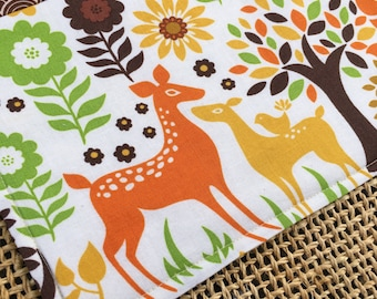 Snack Mat, Mug Rug, Deer Trees Birds Flowers, Woodland Forest Animals