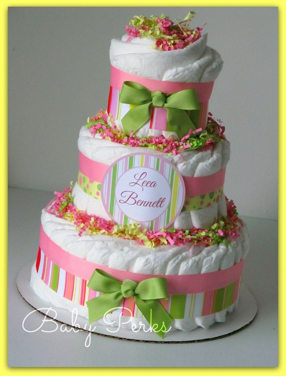 Awesome Pink Green Yellow Diaper Cake Diaper Cakes Baby Shower