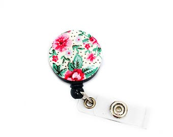SALE !!!!! Flower Cotton Fabric Pattern Retractable ID Badge Reel Alligator Swivel Clip ID Badge Holder - Nurse Gifts Badge Clips -Gift Idea