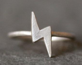 Lightening Bolt Ring in Sterling Silver