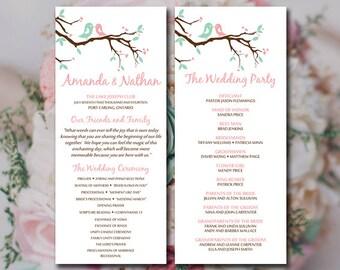 "Love Bird Wedding Program Template - Tea Length Program Printable Wedding ""Love Bird Branch"" Blush Minty Chocolate - Order of Ceremony"