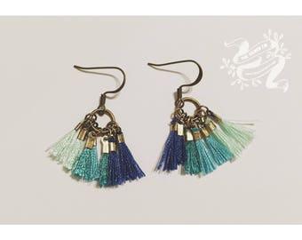 Ocean Ombré Tassels — antiqued brass dangle drops ocean sea blue multicolor boho gypsy earrings nashville christmas mermaid cotton fiber art