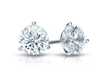 14k Gold 3-Prong Martini Round Diamond Stud Earrings 0.25 ct. tw. (G-H, VS2)