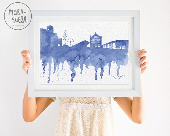 ALMERIA Skyline ANDALUSIA Spain,blue  hues watercolor, skyliner Almeria trip Spain art print, poster Andalucia gift decoration city España