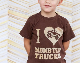 I Love Monster Trucks, Toddler or Kids Shirt, Ink Free print, Click for colors, Sizes 12m to 8, High Quality Tshirt, Free Shipping