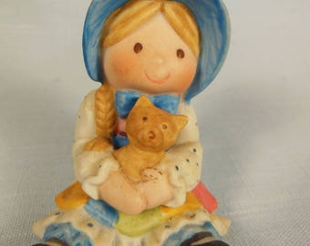 Vintage Holly Hobbie-Sitting With Her Cat Marked H Hobbie On Bottom