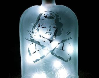 Etched/Marilyn Monroe/LED/ nightlight/ decorative/Repurposed/Glass Bottle