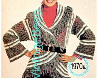 Instant Download • PDF Pattern • Cardigan Crochet PATTERN Vintage Grey BOHO Circle Wrap 1970s Top Bohemian Clothing Hippie Boho Coat Pattern