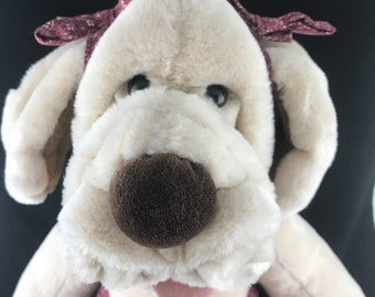 "1980's Wrinkles Inc Plush Stuffed Dog hand Puppet. 17"" tall"