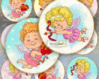 Baby Cupido - 2.5 inch circles - set of 12 - digital collage sheet - pocket mirrors, tags, scrapbooking, cupcake toppers