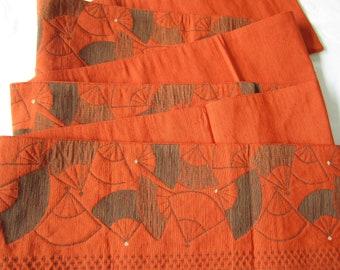 Vintage orange folding fan hanhaba obi for kimono or yukata -USED - Kitsuke - From Japan
