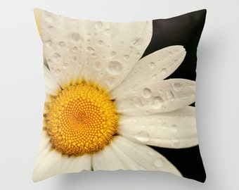 decorative throw pillow, flower photography, white home decor, pillow cover, nature photograph, yellow decor, spring decor