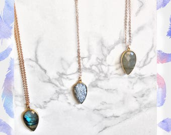 Natural Labradorite Necklace White Moss Agate Necklace Gemstone Jewelry