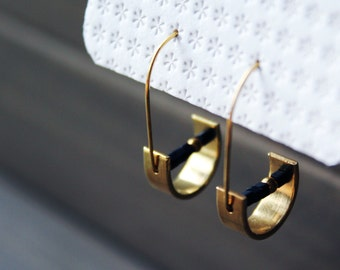 Half moon earrings gold small hoops geometric earrings for girlfriend gift for her half circle minimal black brass jewelry - Unity Earrings