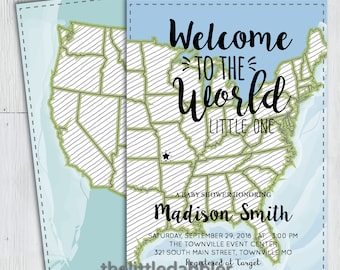 Printable Welcome to the World Baby Shower Invitation -- East Coast United States Map Invitation, World Travel Baby Shower -- PNG & JPG