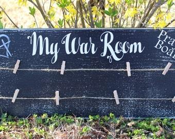 "My War Room Prayer Board 21"" x 9"" x 3/4""."