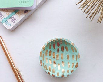 Mint and Gold Ring Dish//Gold Stripes//Bridesmaid//Mother's Day//Birthday//BFF//Bright Color//Small Ring Dish