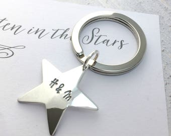 Personalised Solid Silver Star Keyring   Written in the Stars  birthday  wife gift  gift for husband  boyfriend gift  New home gift