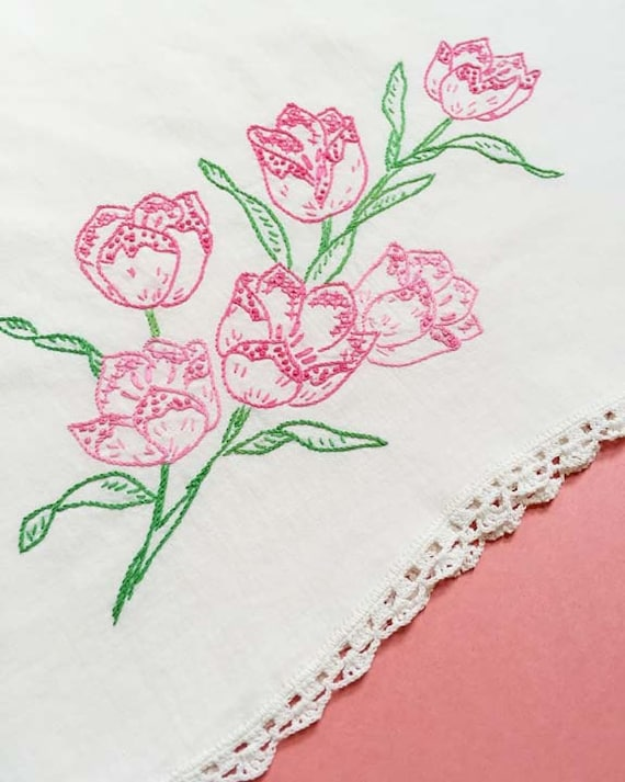 Pink Tulips Embroidered Vintage Pillowcase