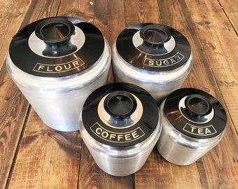 Vintage Kromex Brushed Aluminum Canister Set of 8 Pieces/Retro Kitchen Canister Set/ 8 Piece Kromex Aluminum and Plastic Canister Set
