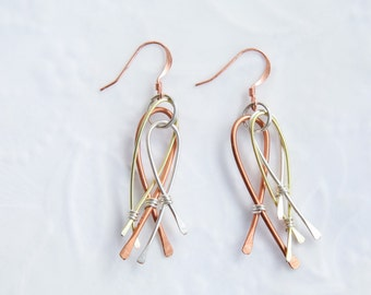 Mixed Metal Earrings, Wire Earrings, Dangle earrings, Modern Earrings, Copper, Silver and Gold Earrings,