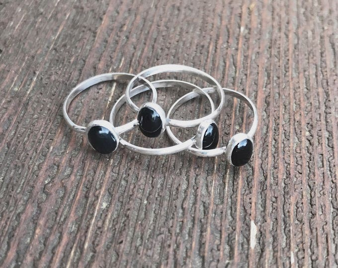 Stackable Black Onyx Sterling Silver Rings