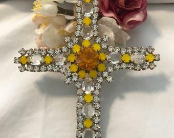Vintage Husar Rhinestone Cross Pendant, Yellow Rhinestone Cross, Statement Cross Pendant, Rhinestone Estate Jewelry, Gift for Her
