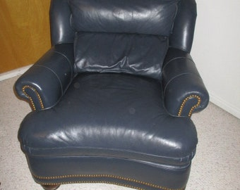 Hancock & Moore VERY HIGH END Leather Chair Classic Style Retails for 2400 Navy Blue Gold accent nails Traditional Sophisticated nautical