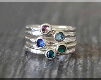 Set of 5 Sterling Silver Birthstone Stacking Rings, Swarovski Gem Ring, Mother's Ring Stack, Swarovski Stacking Ring, Mother's Day Gift