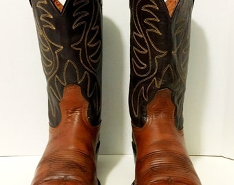 Collectors Acme Brown and Tan Stitched Cowboy or Cowgirl Boots 8 1/2 women's size 9 1/2