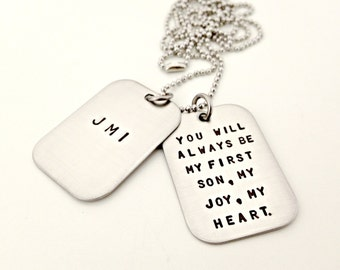 Personalized Dog Tags - Hand Stamped Mens Big Brother Wedding Necklace - Custom Mens Jewelry - Initials with Special Message