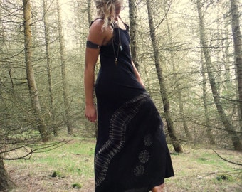 Black Tie Dye Summer Maxi Dress Bohemian Long Dress Hippie Summer Dress
