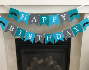 Little Man Birthday Banner, Happy Birthday Banner, Moustache Birthday Banner, Photo Prop, Boy Birthday, Flag Banner, Boy Party