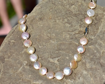 Pearl Necklace, Coin Pearls,Peachy Coin Pearl Necklace.